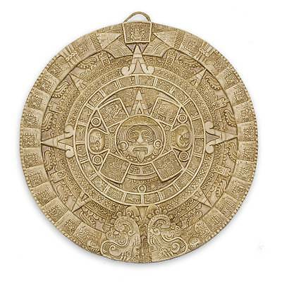 Ceramic Wall Plaque Calendar Handmade 'Aztec Sun Stone in Tan' NOVICA Mexico
