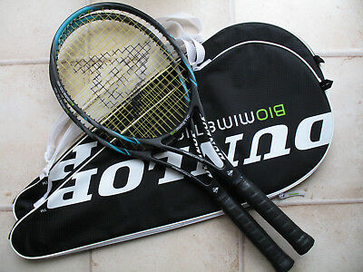 Pair of Dunlop Biomimetic 100 mid-size tennis racquets, grip size 4