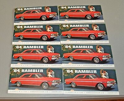 (8) 1964 RAMBLER AMC Ambassador car brochure's catalog booklet lot b2