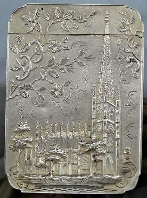 Victorian Sterling Silver Castle Top Visiting Card Case By Leonard & Wilson 1850