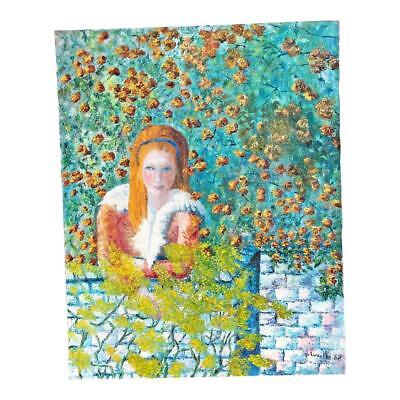 Vintage OIL PAINTING Red Haired Girl Garden mid century signed impressionist 60s