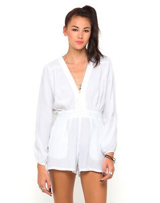2803aade1595 MOTEL ROCKS Jet Jumpsuit in White XS Extra Small (mr90)