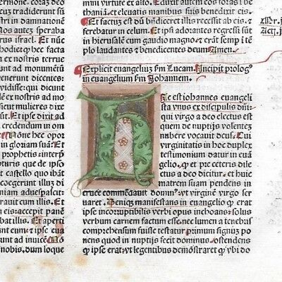 RARE Leaf 1483 Incunabula Latin Bible + MULTI-COLORED Initials +Textual Variant