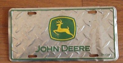 John Deere Embossed Diamond Design Metal License Plate