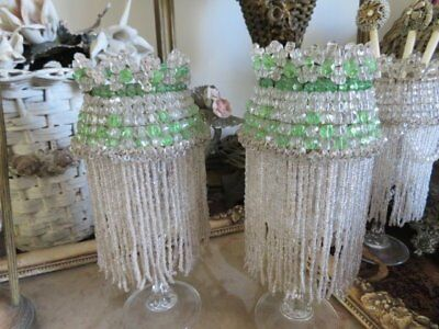 EXQUISITE PAIR Small OLD BEADED DOME LIGHT SHADES Lamp Shade TINY BEADS STRANDS