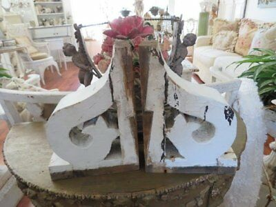 """AWESOME PAIR SMALL Old Architectural CORBELS ORNATE Chippy White 9 1/2"""""""