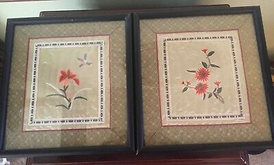 Two Vintage Oriental Framed Silk Embroidery Panels / Pictures - Floral  - S