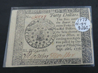 1778 Continental Currency CC- 84 Forty Dollars