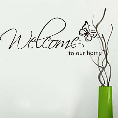 Removable Chic DIY Welcome to Our Home Art Decal Wall Stickers Home Decor US
