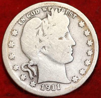 1911-D Denver Mint Silver Barber Quarter