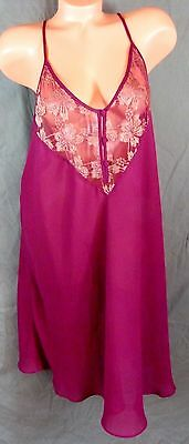 Vtg Lane Bryant 22/24 Intimates Nightgown Maroon Sheer Babydoll Negligee Nighty