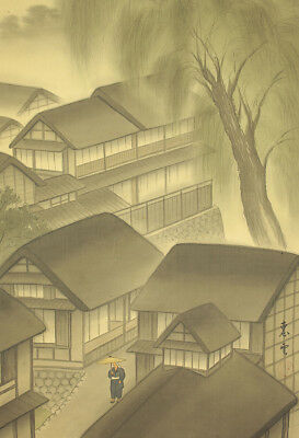"JAPANESE HANGING SCROLL : EUN ""Willow Landscape in Rainy Day""  @e488"