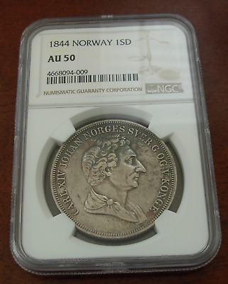 Norway 1844 Silver 1 Specie Daler NGC AU50 One Year Type