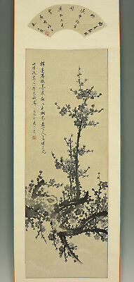 "CHINESE HANGING SCROLL ""Fan Surface~Calligraphy and Ume Tree""  @e492"