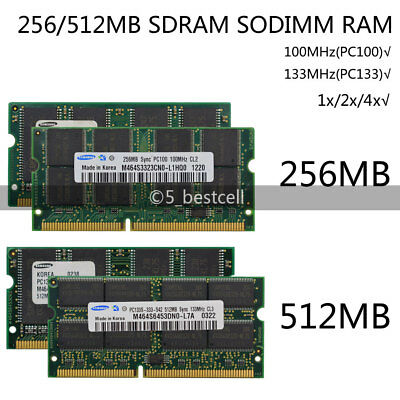 Samsung 256 / 512MB 100 / 133Mhz 144pin SDRAM Laptop Memory RAM SODIMM lot