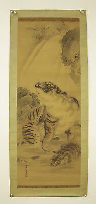 "JAPANESE MAKURI,HONSHI ""Waterfall and Two Tigers""  @s489"