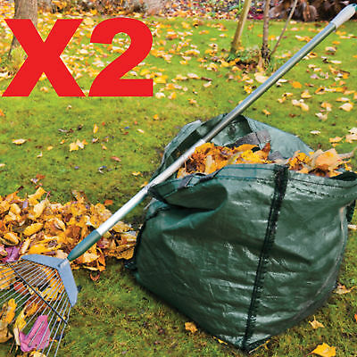 2 X 150L Garden Waste Bags  - Heavy Duty Large Refuse Storage Sacks with Handles