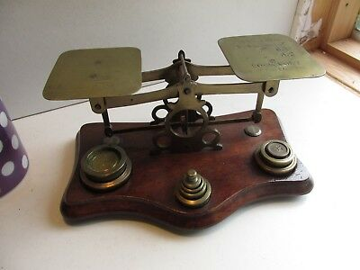 small brass and oak postal scales c1900