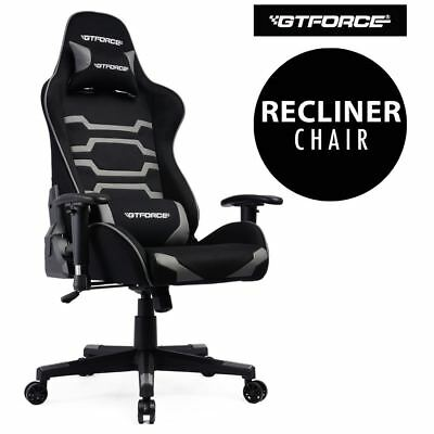 Gtforce Evo Ct Grey Reclining Sports Racing Gaming Office Desk Pc Fabric Chair