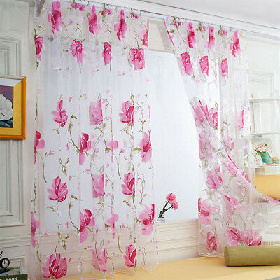 Peony Sheer Curtain Tulle Window Treatment Voile Drape Valance 1-Panel Fabric