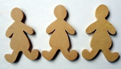 Folk Art Wooden Shape - 3 Dolly (Child) Shapes