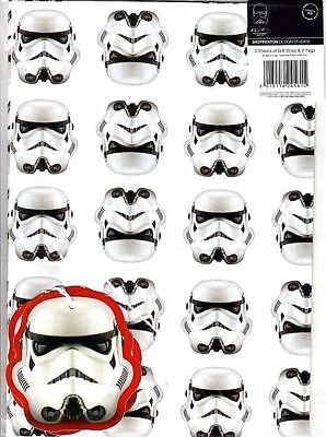 Offical Licensed Star Wars Stormtrooper Gift Wrap Wrapping Paper 2 Sheets 2 Tags