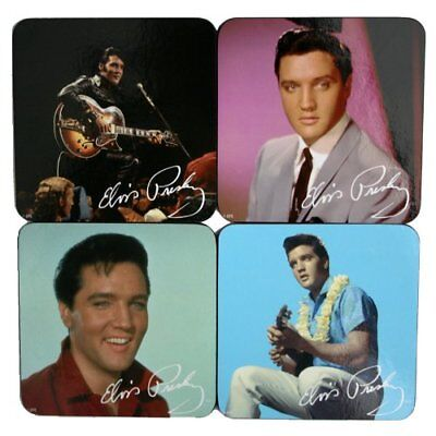 Official Elvis Presley The King Set Of 4 Coasters Drinks Table Mat New And Boxed