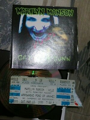 Marilyn Manson Signed CD Booklet Get Your Gun w/ Concert Tour Ticket Stub