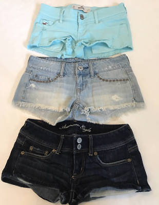 0a4af673a50a8 AMERICAN EAGLE HOLLISTER Womens size 00 LOT OF 3 JEAN SHORTS EUC ...