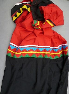 Dress Native Guaymi Women Traditional Long Attire Red Clothing Textile Ethnix