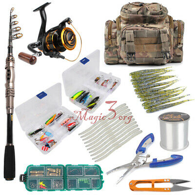 Spinning Fishing Rod Reel Combos Portable 1.8-2.1M Pole Tackle Bag Jig Kit Lure