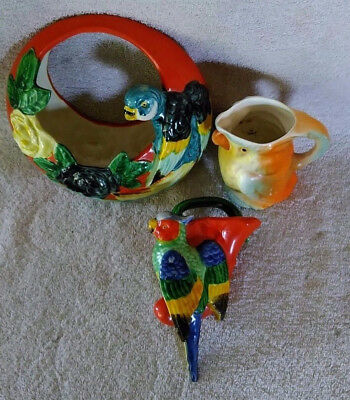 2 Parrot Wall Pockets made in Occupied Japan & 1 Parrot Creamer made in Czech