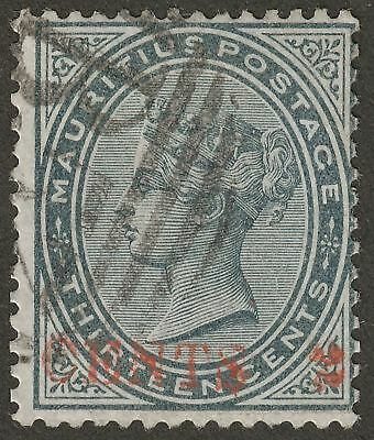 Mauritius 1887 QV 2c on 13c Slate Misplaced Surcharge Used SG117 c£120 CENTS 2
