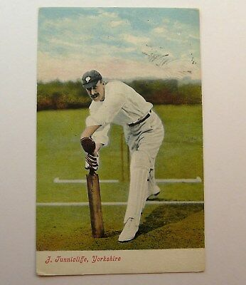 Original 1907 Printed Cricket Postcard Of J Tunnicliffe Yorkshire N/z Stamp