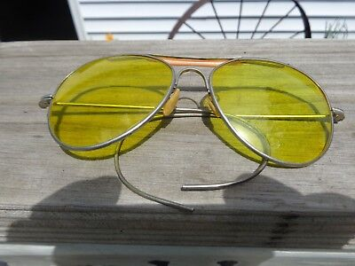 Vintage Aviators Shooters Yellow Glasses with Gold Frame