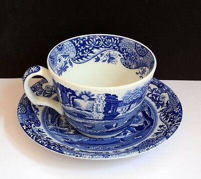 Gorgeous SPODE Italian Cup & Saucer. Blue & White Ceramic. In Good Condition