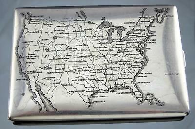 FINE THOMAE CO GILT STERLING SILVER CIGARETTE CASE WITH ENGRAVED U. S. MAP c1940