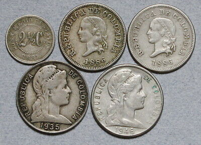 COLUMBIA 2-1/2, 5 Centavos 1881,1886,1935,1946 - Lot of 5 Old F/VF Coins, NR!