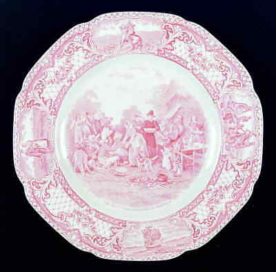 Crown Ducal COLONIAL TIMES PINK 1st Thanksgiving Dinner Plate 5056871
