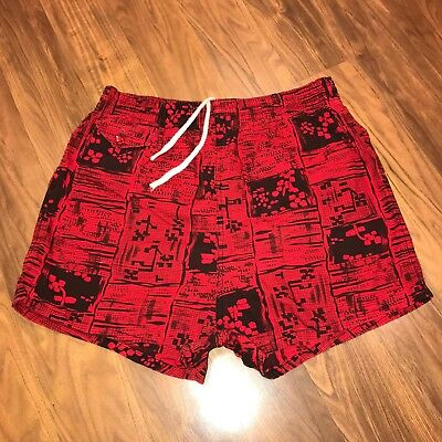 Vtg 50s 60s Red Print BVD Brand Mens MEDIUM Surf Swim suit Trunks shorts 34 36