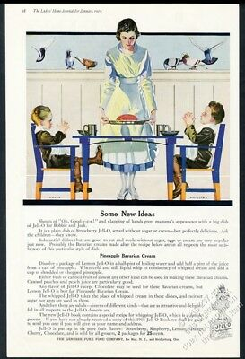 1919 Coles Phillips mother and boys art Jello Jell-O dessert vintage print ad