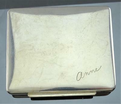 FINE THOMAE CO ENGRAVED STERLING SILVER CASE BOX WITH GOLD WASHED INTERIOR c1940