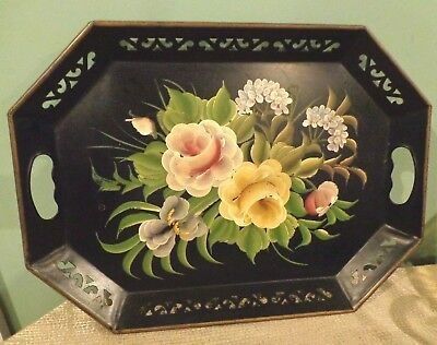 Vintage Tole Painted Roses Floral Metal 8 Sided Butler Tray SHABBY COTTAGE CHIC