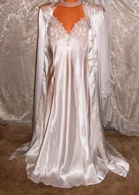 NWOT Vintage UNBELIEVABLE White SATIN Nightgown & Robe Set LARGE Bust 42