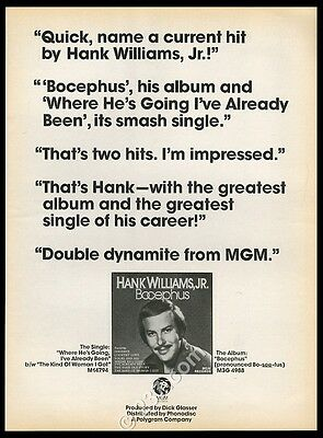 1975 Hank Williams Jr photo Bocephus album release music trade print ad