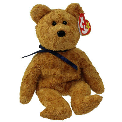 TY Beanie Baby - FUZZ the Bear (9 inch) - MWMT's Stuffed Animal Toy