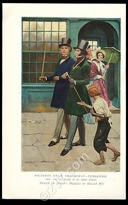 1907 Howard Pyle 'Pictures from Thackeray- Pendennis' vintage print