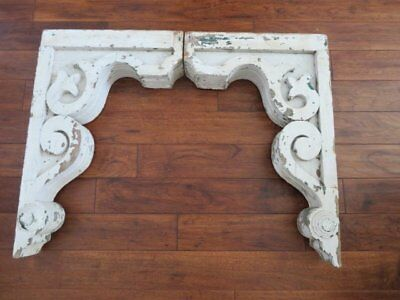 OMG PAIR LARGE Old Architectural CORBELS ORNATE Chippy WHITE Patina Very SHAPELY