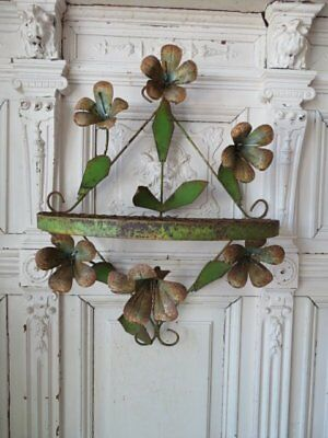 WONDERFUL Old Vintage Italian WALL SHELF  6 Large TOLE FLOWERS Great PATINA!