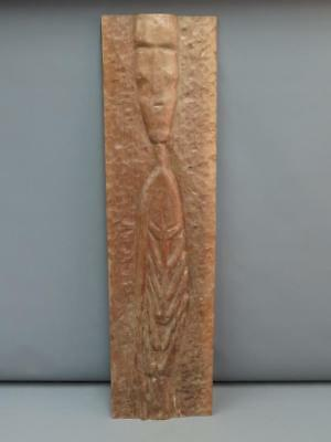 Antique 1900s Melanesian South Pacific Carved Wood Rectangular Panel Tribesman